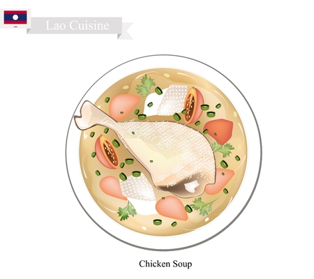 popular soup: Lao Cuisine, Traditional Chicken Soup with Garlic, Ginger, Lemongrass, Coriander and Chili. One of The Most Popular Dish in Lao.