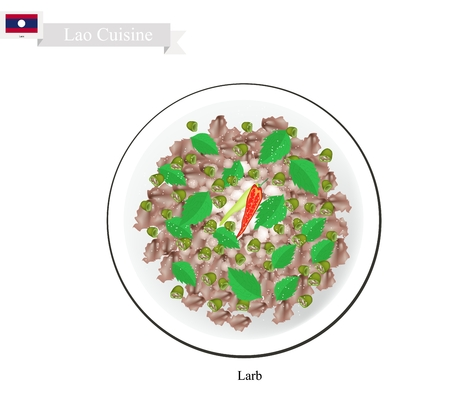 ground beef: Laos Cuisine, Larb or Traditional Spicy Minced Meat Salad. One of The Most Popular Dish in Laos.