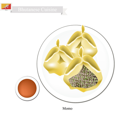 stuffed: Bhutanese Cuisine, Momo or Dumpling Made of Dough Stuffed with Minced Meat. One of The Most Popular Dish of Bhutan.