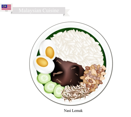 Malaysian Cuisine, Nasi Lemak or Steamed Rice Cooked in Coconut Milk Served with Boil Egg, Anchovies, Peanut and Cucumber, The National Dish of Malaysia.