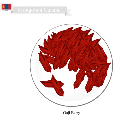 mongolia: Mongolia Fruit, Illustration of Dried Goji Berry. One of The Most Popular Fruits of Mongolia.