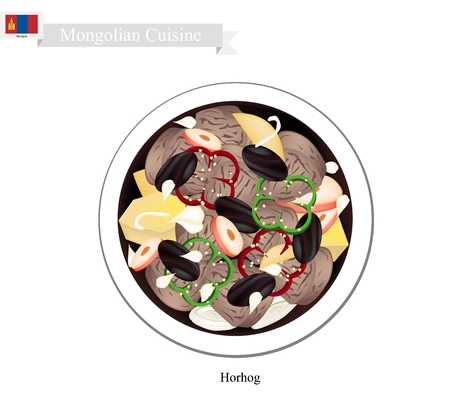 cooked meat: Mongolian Cuisine, Horhog or Meat Barbecue with Carrots, Cabbage and Potatoes Cooked with Hot Stones. One of Most Popular Dish in Mongolia. Illustration