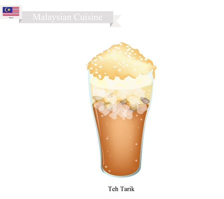 tarik: Malaysian Cuisine, Teh Tarik or Traditional Ice Tea Served with Milk. One of The Most Popular Drink in Malaysia.