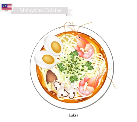 Malaysian Cuisine, Laksa or Traditional Rice Noodle Served in Spicy Soup. One of The Most Popular Dish in Malaysia. Vectores