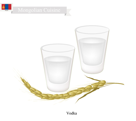Mongolian Cuisine, Vodka or Distilled Beverage Containing Ethanol and Water. One of The Most Popular Drink in Mongolia. Çizim