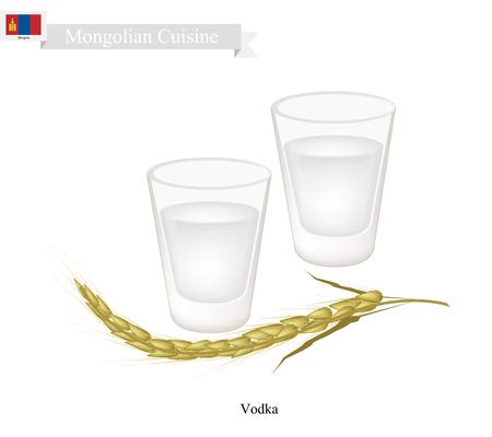 Mongoolse keuken, wodka of gedistilleerde dranken met ethanol en water. Een van de populairste drankjes in Mongolië.