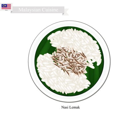cooked rice: Malaysian Cuisine, Nasi Lemak or Steamed Rice Cooked in Coconut Milk Served with Anchovies, The National Dish of Malaysia.
