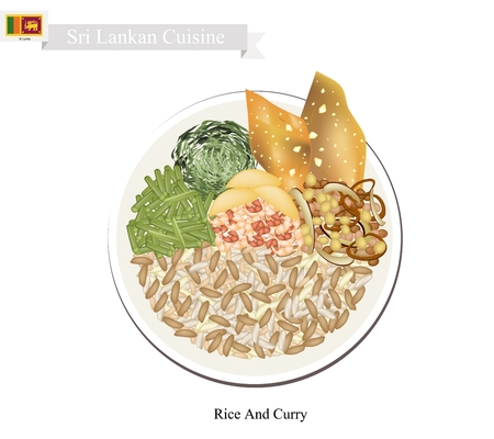 Sri Lankan Cuisine, Traditional Rice And Curry Made with Rice, Meat and Various Vegetables Cooked with Spices. One of The Most Popular Dish in Sri Lanka. Stock Vector - 57029612