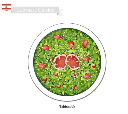 lebanese: Lebanese Cuisine, Illustration of Tabbouleh or Traditional Salad Made of Tomatoes, Parsley, Mint, Bulgur and Onion. One of The Most Popular Dish in Lebanon.