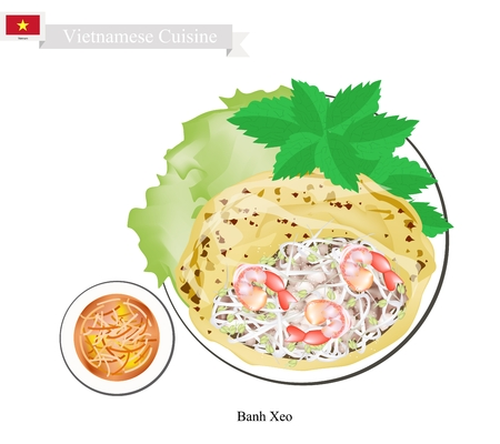 crispy: Vietnamese Cuisine, Banh Xeo or Traditional Crispy Pancake with Shrimps and Bean Sprouts. One of The Most Popular Dish in Vietnam. Illustration