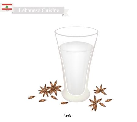 Libanesische Küche, Arak oder Traditionelle Klar Brandy aromatisiert mit Anis. Eines der beliebtesten Getränk im Libanon.