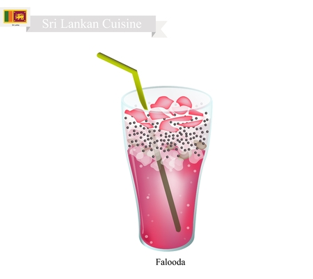 sri lankan flag: Sri Lankan Cuisine, Falooda or Traditional Cold and Sweet Drink Made of Milk, Rose Syrup, Vermicelli, Basil Seeds and Ice Cream. One of The Most Popular Drink in Sri Lanka.