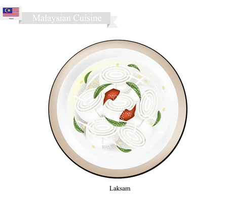 laksa: Malaysian Cuisine, Laksa or Traditional Wide Rice Noodle Served in Creamy Coconut Gravy and Pounded Fish. One of The Most Popular Dish in Malaysia.