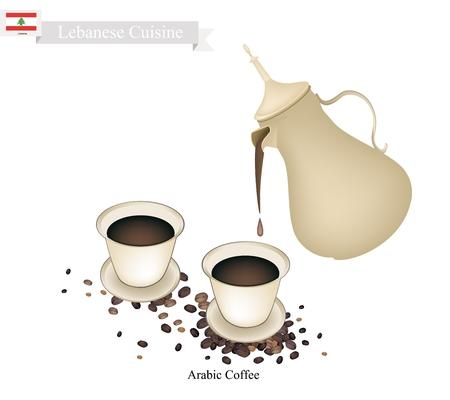 Cuisine libanais, arabe Café ou café infusé à partir de fèves Rôti foncé café épicé à la cardamome. L'un des plus populaires boissons au Liban. Vecteurs