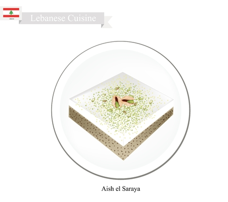 lebanese: Lebanese Cuisine, Aish el Saraya or Traditional Bread Pudding Topping with Pistachio Powder. One of The Most Popular Dessert in Lebanon.