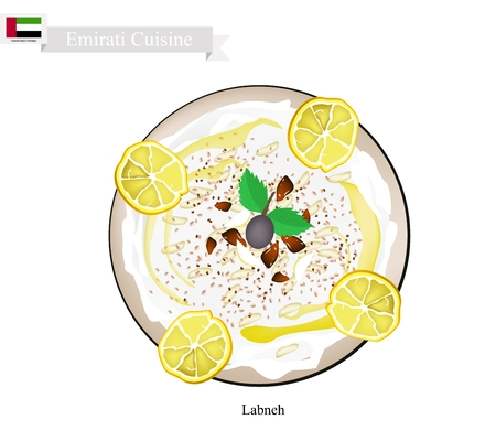 Emirati Cuisine, Laban or Traditional Yogurt Cheese. One of The Most Popular Dish in United Arab Emirates. Illustration