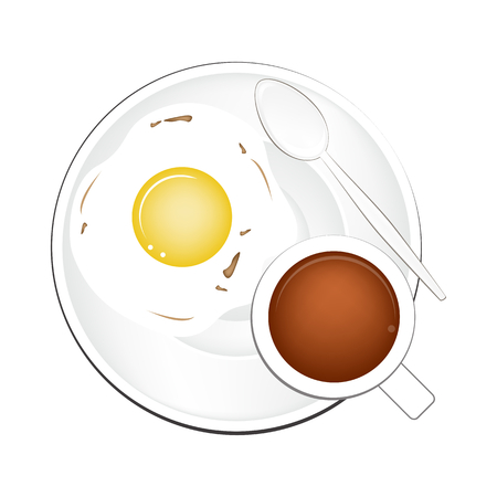 piccolo: Coffee Time, A Cup of Hot Coffee Served with Breakfast Fried Egg Isolated on White Background. Top View.
