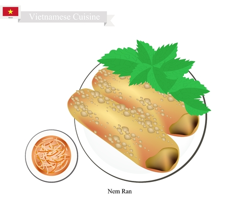 Vietnamese Cuisine, Nem Ran or Traditional Crispy Spring Rolls Filled with Mince Pork Wrapped in Rice Paper and Deep Fried. One of The Most Popular Dish in Vietnam.