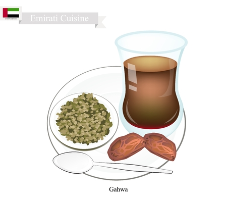 bedouin: Emirati Cuisine, Gahwa Coffee or Coffee Brewed from Dark Roast Coffee Beans Spiced with Cardamom. One of The Popular Beverage in United Arab Emirates.