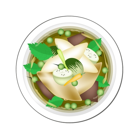 curry: Thai Cuisine, Thai Spicy Green Curry with Green Eggplant, Fish Balls and Coconut Milk, One of The Most Famous Curry Recipes in The World.