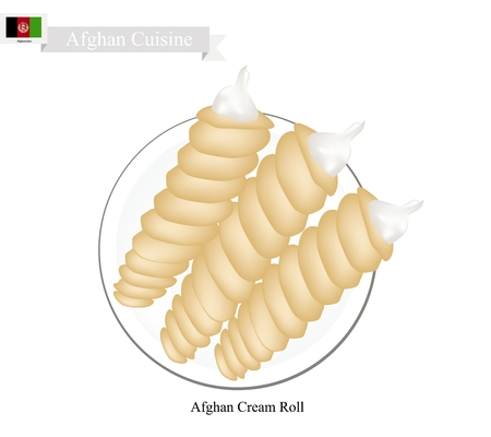 afghan: Afghan Cuisine, Traditional Cream Roll Filled with Both Butter or Whipped Cream. One of The Most Popular Dessert in Afghanistan.