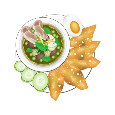 boiled egg: Thai Cuisine, Thai Spicy Green Curry with Boiled Egg and Fried Wonton, One of The Most Famous Curry Recipes in The World. Illustration