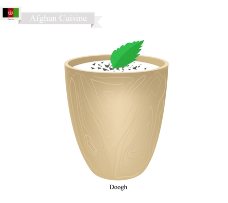 afghan: Afghan Cuisine, Doogh or Fermented Milk with Sour and Spice Flavor. One of The Most Popular Drink in Afghanistan. Illustration