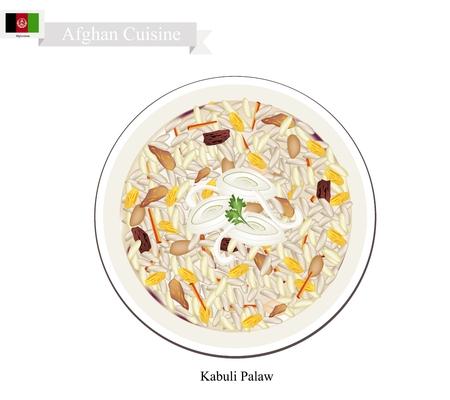 Afghanistan cucina, Palaw o al vapore riso mescolato con l'uva passa, carote e agnello. Il piatto nazionale di Afgha.