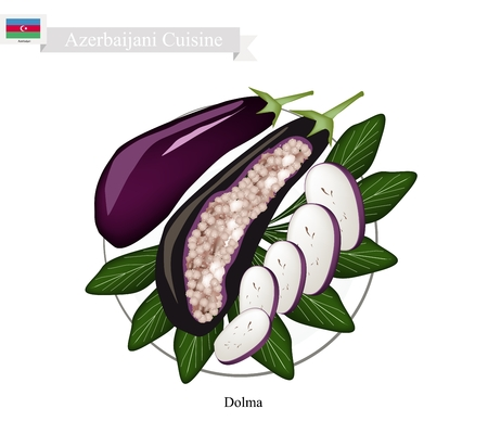 cooked rice: Azerbaijani Cuisine, Dolma or Traditional Cooked Rice and Meat Stuffed with Eggplants. One of The Most Popular Dish of Azerbaijan. Illustration