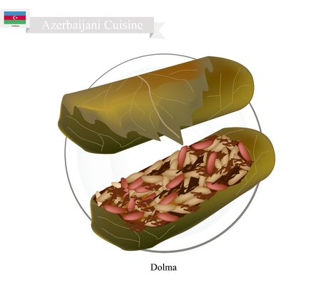 Azerbaijani Cuisine, Dolma or Traditional Cooked Rice and Meat Wrapped in Grape Leaves. One of The Most Popular Dish of Azerbaijan.
