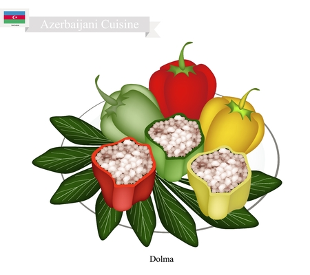 Azerbaijani Cuisine, Dolma or Traditional Cooked Rice and Meat Stuffed with Bell Peppers. One of The Most Popular Dish of Azerbaijan.
