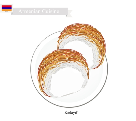 shredded: Armenian Cuisine, Kadayif or Traditional Shredded Pastry Dessert  Topping with Cheese and Syrup. One of The Most Popular Dessert in Armenia.
