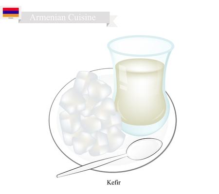 Armenian Cuisine, Kefir or Fermented Milk Made of Milk and Tibetan Mushroom Grains. One of The Most Popular Drink in Armenia.