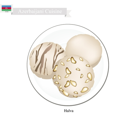 Azerbaijani Cuisine, Halva or Traditional Nut Butter and Sugar. One of The Most Popular Dessert in Azerbaijan.