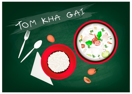 Thai Cuisine, Tom Kha Gai  or Thai Chicken Spicy and Sour in Coconut Milk with Chickens on Green Chalkboard. One of The Most Popular Dish in Thailand.