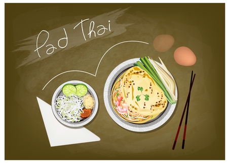 thai noodle: Thai Cuisine, Pad Thai or Thai Stir Fried Noodles on Green Chalkboard. One of The Most Popular Dish in Thailand.