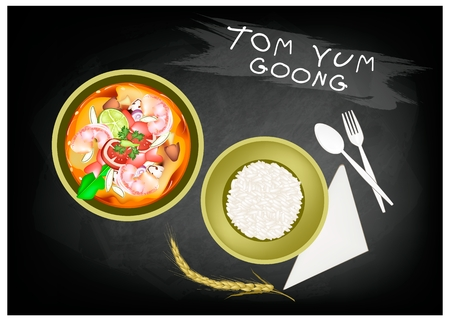lemon grass: Thai Cuisine, Tom Yum Goong or Traditional Thai Spicy and Sour Soup with Prawns on Chalkboard Banner. One of The Most Popular Dish in Thailand.