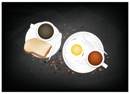 piccolo: Coffee Time, A Cup of Hot Coffee Served with Breakfast Fried Egg and Toast on Black Chalkboard.
