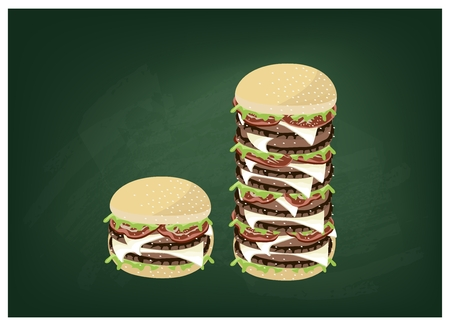 jumbo: Cuisine and Food, Illustration of Delicious Gigantic Cheese Burgery on Dark Green Chalkboard.