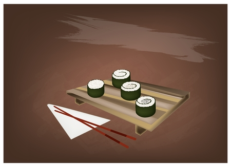 sushi  plate: Japanese Cuisine, Illustration of Fresh Rice Sushi Rolls or Rice Makimono Rolls Topping with Sesame on Wooden Geta Plate with Chopsticks.