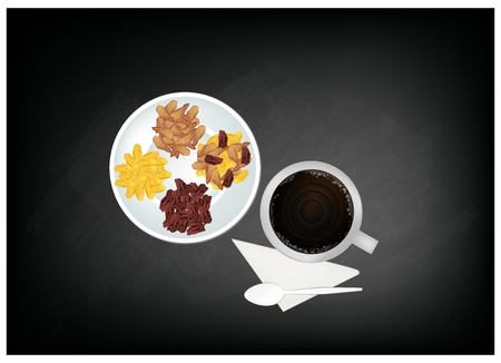 raisin: Coffee Time, A Cup of Coffee Served with Raisins or Dried Grape on Black Chalkboard. Illustration