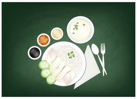Cuisine and Food, Hainanese Chicken Rice Served with Clear Soup and Sauce on Green Chalkboard. One of The Most Popular Foods in Asia.