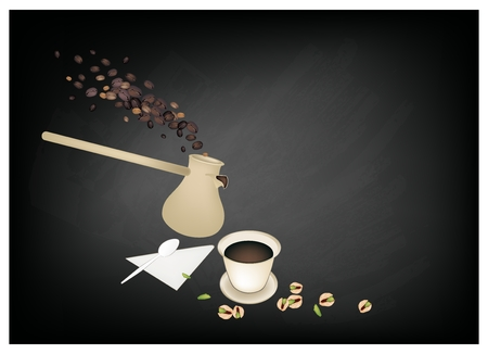 Turkish Cuisine, Turkish Coffee with Cezve or Turkish Coffee Pot on Chalkboard. One of The Popular Drink in Turkey. Ilustração