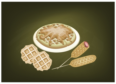 freshly baked: Cuisine and Food, Freshly Baked Round Waffles and Hot Dog Waffles on A Chalkboard. Illustration