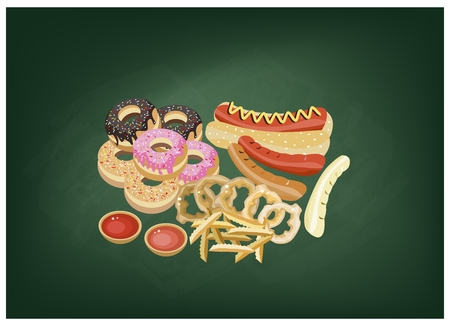 deep fried: Fast Food, Illustration of Hot Dog, Donut, French Fries and Onion Ring on Green Chalkboard.