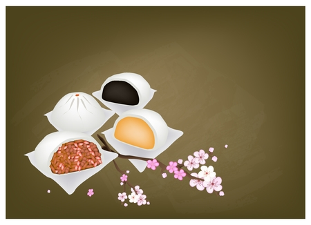 Chinese Cuisine, Illustration of Chinese Steamed Bun on Chalkboard. One of Most Popular Dumplings in China.