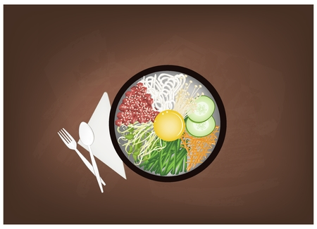 topped: Korean Cuisine, Bibimbap or Korean Mixed Rice with Meat and Assorted Vegetables Topped with Egg Yolk and Chilli Paste on Black Chalkboard. A Popular Dish in Korea. Illustration
