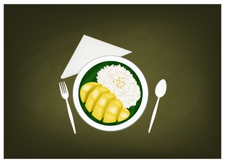thai dessert: Thai Cuisine, Sticky Rice Steamed with Coconut Milk Served with Ripe Mango on Chalkboard. One of The Most Popular Dessert in Thailand.