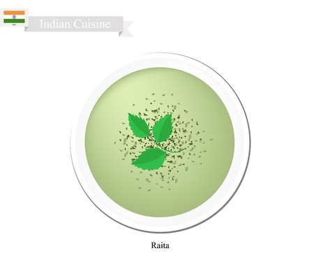 dip: Indian Cuisine, Raita or Traditional Dip or Spread Made Form Yogurt, Cucumber and Mint. One of The Most Popular Dish in India. Illustration