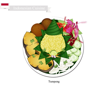 Indonesian Cuisine, Tumpeng or Traditional Cone Shaped Curry Rice with Fried Fish, Meatball and Vegetables, One of The Most Popular Food of Indonesian.